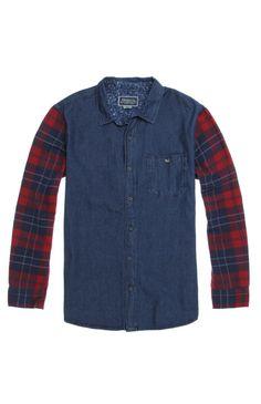 Modern Amusement Denim Mix Up Long Sleeve Woven Shirt