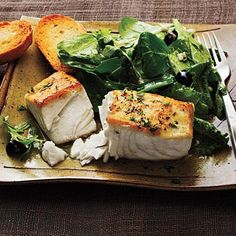 Halibut à la Provençal over Mixed Greens | CookingLight.com