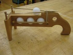 Ping Pong Shooter! The boys would love this if mary darlin would ok it lol #woodworkingforkids