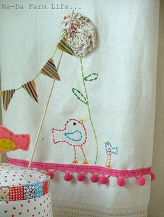 Pretty bird banner and edge - maybe some kitchen or playroom curtains?
