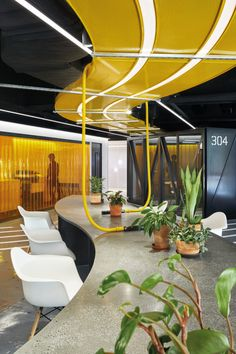 Hyundai's fintech workspace blends the highly digital with the highly human - News - Frameweb Corporate Office Design, Corporate Interiors, Workplace Design, Office Interior Design, Office Interiors, Design Commercial, Commercial Interiors, Google Office, Plafond Design