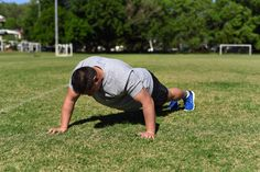 Staggered Push Up. Step Two: Push your body off the ground to complete one repetition, keep your back straight and in a neutral position with your core switched on.