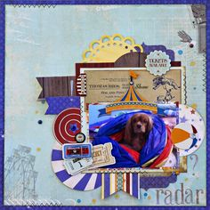 BoBunny May Sketch Challenge layout by Rhonda Van Ginkel featuring the Carnival Collection and Silver Foil Rubons. #BoBunny @snapwhiz