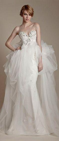 Ersa Atelier Bridal 2013 - Strapless Wedding Dress with Swarovski Crystal Bodice