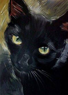 NOT A GIF~ Instead, A BIG painting of a black cat, 24 x 36 inches ~ original oil ~ by Diane Irvine Armitage.