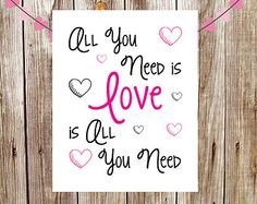 INSTANT DOWNLOAD | Nursery Art | Wall Art | Subway Art | 5x7 | 8x10 | All You Need is LOVE is All You Need