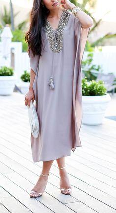 Silk embellished kaftan dress.