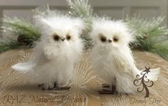RAZ White Feathered Owl Ornament Set of 2