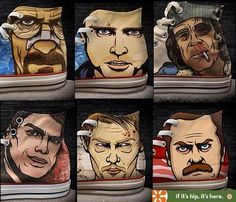 If Its Hip, Its Here: Custom Kicks Feature Pop Culture Anti-Heroes from Breaking Bad, Walking Dead, Parks & Recreation, Dexter & Shameless. Dexter Shoes, Custom Converse, Quirky Fashion, British Men, Parks And Recreation, Breaking Bad, Chuck Taylor Sneakers, The Walking Dead, Looking For Women