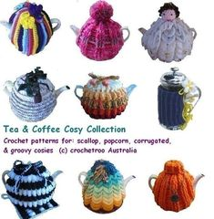 Tea Cosy Pattern Collection - 4 basic crochet patterns used in different ways - set of crochet patterns Pdf $10.50 on Etsy at http://www.etsy.com/listing/62431557/tea-cosy-crochet-pattern-collection