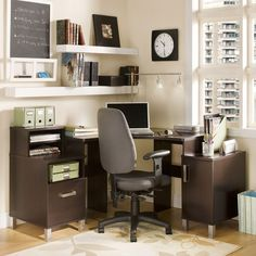 Corner Desk in Chocolate-love this set up and how it's organized.