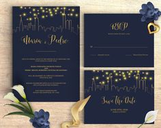 Wedding Invitation Template, Navy Blue, City Skyline, Cheap Invitation, DIY, Printable, PDF Instant Download, New York