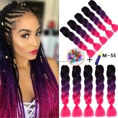 24 Inches Xpression Ombre Braiding Hair Purple Box Braids, Colored Box Braids, Jumbo Box Braids, Braids For Black Hair, Kids Braided Hairstyles, Holiday Hairstyles, Weave Hairstyles, Afro Braids, African Braids