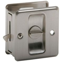 "Schlage 991 Ives Privacy Pocket Door Lock 1-3/4"" x 2-1/4"" Satin Nickel Pocket Door Lock Privacy"