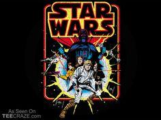 Retro Star Wars Comic T-Shirt - https://teecraze.com/retro-star-wars-comic-t-shirt/ - Designed by StarWars You May Also Like Breaking Bad Poster Wookie Cushion T-Shirt