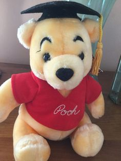 Winnie the Pooh - Graduation Bear Plush. Adorably cute Winnie the Pooh Plush. Bright gold fur with red Pooh top. Condition: Pre-owned; Good condition;. | eBay!