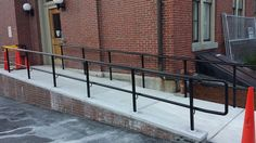 commercial railing Handicap Ramps, Balcony Railing, Fence Gate, Commercial, Stairs, Iron, Windows, Craft, Home