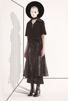 #SIMONGAO #SS #2016 #Collection #Shadow #designer #dark #top #fashion #vogue #trend #design #chic #brand #black #show #wear #beauty #accesory #gothic #installation #art #culture #cosmos #energy #tech #mystery #spiffy #oriental #cutting #lines #elegant #coating #Pattern #Cut #Out #Trench #Coat #Cotton #Ployester #Black #Flared #Pants