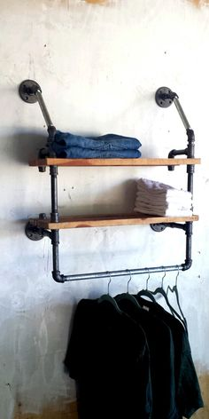 Industrial Clothing Rack and Double Shelf - Closet Organizer - Laundry Room Shelf - Clothes Hanger - Rustic Industrial Pipe, Industrial House, Industrial Clothes Rail, Rustic Industrial Bedroom, Industrial Shelving, Pipe Furniture, Industrial Furniture, Diy Home Decor Rustic, Diy Pipe