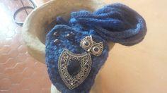 Collana lunga di lana azzurra,lavorata a mano con il crochet con l'applicazione di un gufo (materiale di recupero)., by Ideacreazioni, 25,00 € su misshobby.com