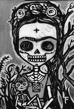 Frida Kahlo with Monkey Day of the Dead 5x7 art by ArtByLupeFlores, $6.99