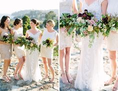Bridesmaids in Ivory. Maggie Bride wore Lucinda by Maggie Sottero at her Yacht Club Wedding   Megan Clouse Photography