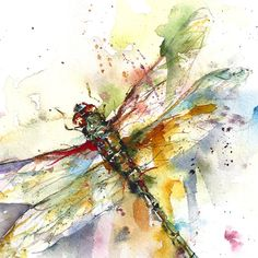 DRAGONFLY Original Watercolor Painting by Dean Crouser. look how the artist encouraged the shape of the dragonfly out of the loose washes of color!!