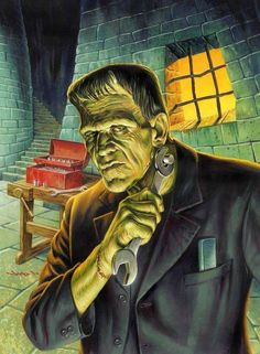 Frankenstein's Monster - art Jason Edmiston Psychobilly, Arte Horror, Horror Art, Halloween Horror, Halloween Art, Halloween Legends, Halloween Images, Jason Edmiston, Pin Up