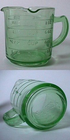 Depression glass measuring cup - Old antiques like this are beautiful and functional. Have clear… only ever found the one cup -pour from three sides! in the green.