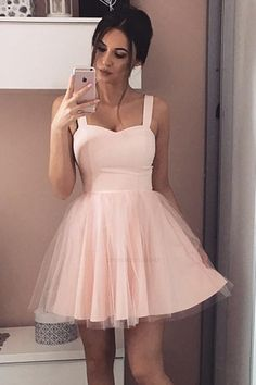 A-Line Straps Short Prom Dress Sleeveless Pink Tulle Homecoming Dress Light Pink Homecoming Dresses, Pink Prom Dresses, Grad Dresses, Event Dresses, Pretty Dresses, Beautiful Dresses, Dress Prom, Party Dress, Tulle Dress