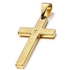 Collier Pendentif en Acier Inoxydable Argent Jésus Chaîne Punk Hommes Vintage Cross Gold