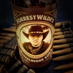 """Surprise Sodalirious for Forest's birthday today. Wild west theme party with classic custom bottles. Happy Birthday """"Gunslinger"""". Contact us if you need custom soda for the holidays #sodajerk #sodalirious #localbusiness #sandiegoevents #sandiego #homemadesoda #wildwildwest #customsoda #gunslinger #soda"""