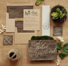 Rustic Invitation Set in Wood & Kraft