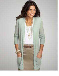 Ann Taylor - love the Seafoam color & jewelry layering