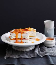 Peaches and cream meringue cake