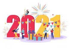 Happy new year illustration with little ... | Premium Vector #Freepik #vector #new-year #happy-new-year #character #happy New Year Pictures, Happy New Year Images, Happy New Year Cards, Happy New Year Wishes, New Year Gifts, Happy Year, New Year Logo, New Year Illustration, Illustrations