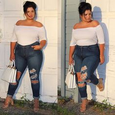It's not about what size you wear, it's about how you wear your size #OOTD Jeans from @fashionnova @fashionnovacurve code: XOFRANKIE for off Top from @ftfsnaps Shoes & Bag @debshops Just because I know you guys: My jeans are a 2x, fit perfectly and I'm normally a 2x so they are true to size, stretchy as well, My top is a 3x and it was super big so I tucked it in as best as I could, shoes have a block heel and yes they are comfortable. I'm wearing a normal bra that I pulled the straps ...