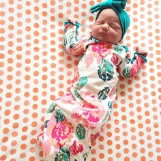Newborn Pixel Rose Layette Gown - a perfect bringing home baby outfit, and great for newborn pictures! ohsovera.com