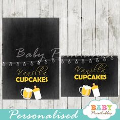 Printable baby is brewing beer & barbecue themed food label tent cards…
