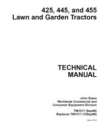 repair manual John Deere 425 445 455 Lawn & Garden Tractors Technical Manual PDF TM 1517