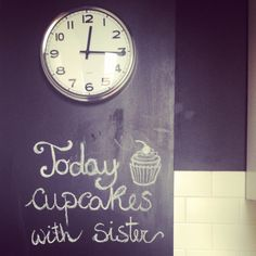 #home #small #kitchen #chalkboard #wall #clock #cupcakes
