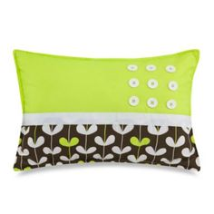 Love the blend of lime green and brown with button accents on this decorative toss pillow!