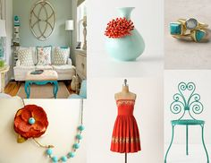 Turquoise and Orange Inspiration by www.inspiredeventsbynycia.blogspot.com