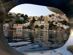 View of Greek island Symi from the cabin window Small Island, Greek Islands, Sailing, Greece, Window, Cabin, Sun, Greek Isles, Windows