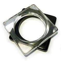 Pair Vintage 1960s Square Bangles Plastic Lucite Black Clear Monochrome Transparent Geometric