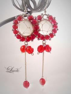 red round glass earrings  silver plated by Laurelisbijoux on Etsy, $19.99
