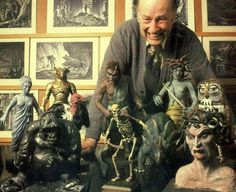 Ray Harryhausen with many of the characters he used stop motion special effects on to bring them to life in movies