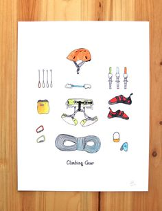 Climbing Gear by JodiLynnDoodles on Etsy Rock Climbing Gear, Sport Climbing, Climbing Quotes, Backpacking Checklist, Glamping, Escalade, I Card, Doodles, Camping Equipment