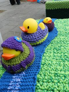 Yarn Bombing - Coburg's Victoria Mall by Twilight Taggers, via Flickr, Fab idea. This inspires me to dress up my yellow duckies on the weekend!