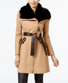 Please click on the picture to go to the detail page.  Via Spiga Faux-Fur-Collar Wool-Blend Walker Coat, Only at Macy's